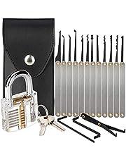 Lock Picking Set, 15-delige Lock Pick Set met transparant trainingshangslot voor beginners en slotenmaker Training
