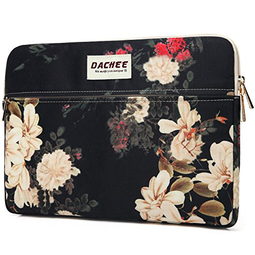 Dachee White Flowers Pattern 13 inch laptop sleeve with pocket 13 inch 13.3 inch laptop case macbook air 13 case macbook pro 13 sleeve