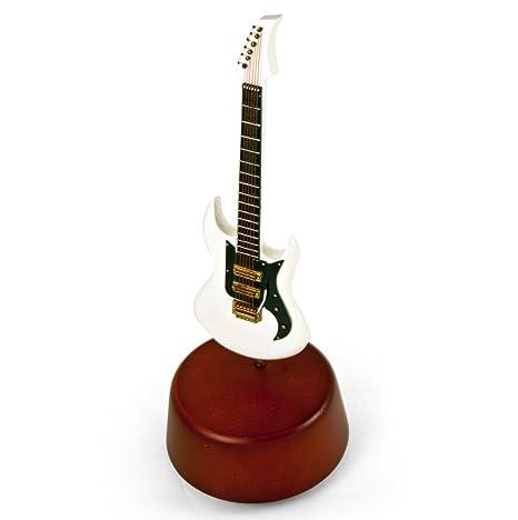 Increíble 18 nota miniatura blanco guitarra eléctrica con base musical giratoria, Blanco, 292.