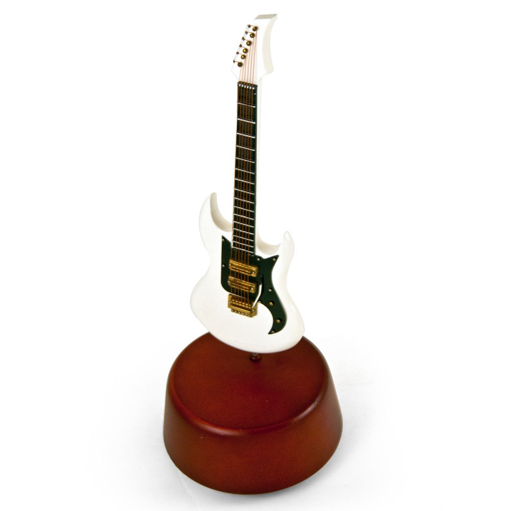 Incredible 18 Note Miniature White Electric Guitar With Rotating Musical Base - Over 400 Song Choices - School Oays