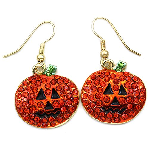 Happy Halloween Trick or Treat Jack-O-Lantern Pumpkin Earrings Dangle Drop Style