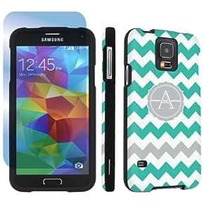SkinGuardz Samsung Galaxy S5 Hard Protection Case + Screen Protector - (Mint Chevron Monogram Initial A Black)