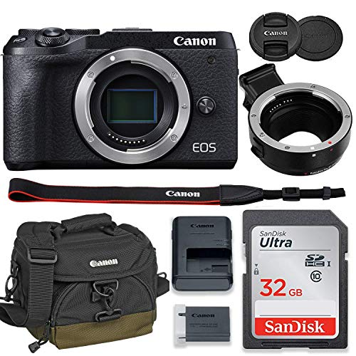 Canon EOS M6 Mark II Mirrorless Digital Camera (Black) Body Only Kit with Auto (EF/EF-S to EF-M) Mount Adapter + 32GB Sandisk Memory + 100EG Padded Case and More.