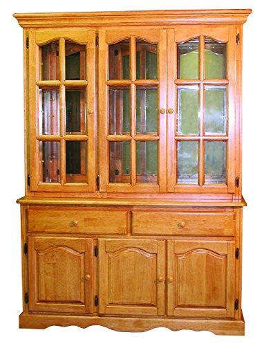 Sunset Trading Treasure Buffet and Lighted Hutch, Light Oak Finish (China Set Cabinet)