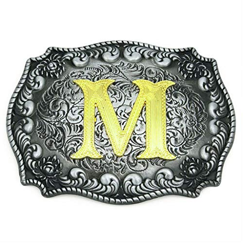 Upgrade Western Belt Buckle Initial Letter ABCDEFG to Y- Cowboy Rodeo Large Gold Silver Metal Buckles for Men -