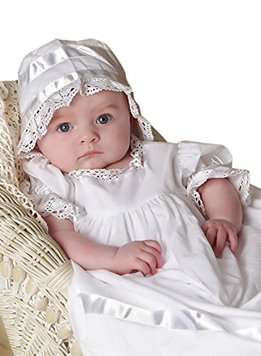 Gown Heirloom Christening Cotton (Strasburg Children Babies Lace Christening Gown Heirloom Baptism Dress w/Bonnet (6 Month, White))
