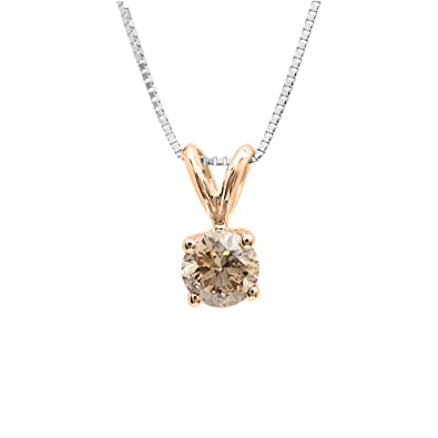 dd98d316a6e5fc Amazon.com: Dazzlingrock Collection 0.25 Carat (ctw) 14K Round Champagne  Diamond Ladies Solitaire Pendant 1/4 CT, Rose Gold: Jewelry