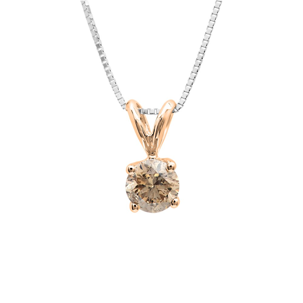 0.25 Carat (ctw) 14K Rose Gold Round Champagne Diamond Ladies Solitaire Pendant 1/4 CT