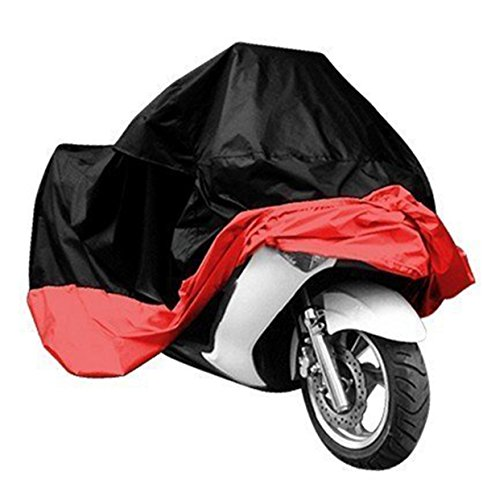 e Cover Black and Red, Weather Protection, Durable & Tear Proof, fits Sport Bikes and Small Cruiser Motorcycles (Red, L) (Street Bike Saddlebag)