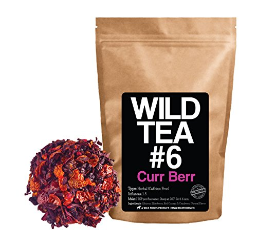 Berry Blend Herbal Tea with Hibiscus, Elderberry, Currant and Cranberry by Wild Foods Co (4 ounce) Currant Leaf