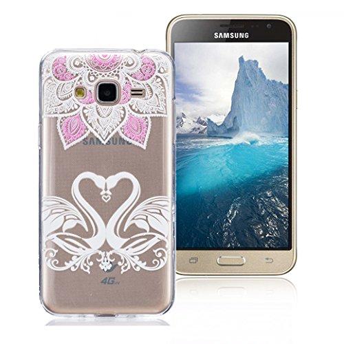 Funda Samsung Galaxy J3 2016 SM-J320F, AllDo Funda TPU Silicona para Samsung Galaxy J3 2016 SM-J320F Funda Transparente Claro Carcasa Flexible Suave TPU Silicone Case Soft Cover Carcasa Protectora Fun Ganso&Amor