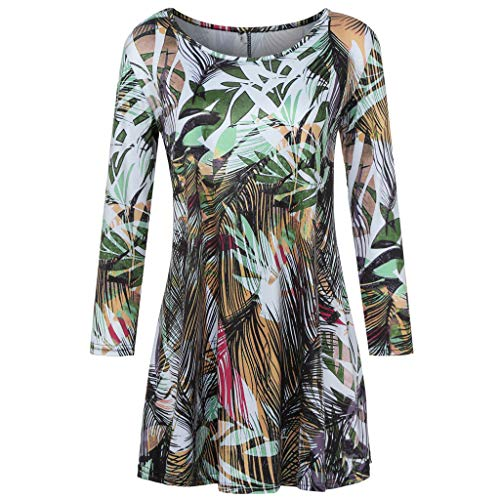 GOVOW 3/4 Sleeves Tees for Women Fashion Womens Casual Floral Print Shirts O-Neck Tunic Blouse Tops Army Green