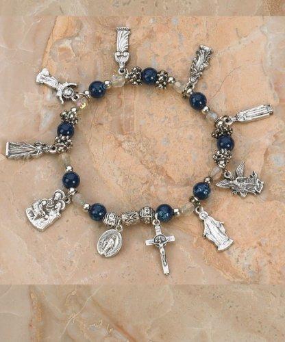 Assorted Saints Italian Glass Stretch Bracelet (LM 108-16-8111) - Blue Topaz