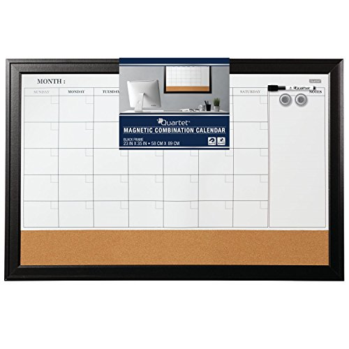 Quartet Combination Magnetic Whiteboard Calendar & Corkboard, 23