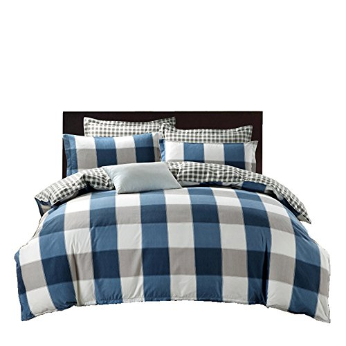 Price comparison product image Lightweight Microfiber Reversible Bedding Duvet Cover Set,  Grid Pattern Design,  Navy Color (Queen)