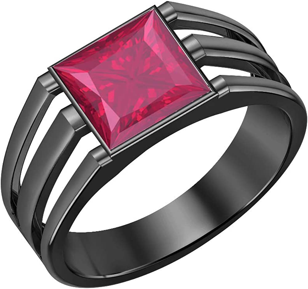 tusakha 14K Black Gold Over 925 Sterling Silver Solitaire Princess Cut Pink Ruby Mens Wedding Band Engagement Ring