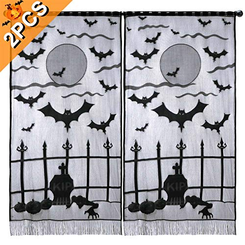 Scary Halloween Window Panels (Aytai 2Pcs Black Lace Halloween Curtains for Windows, Vividly Bats Window Curtains Halloween Party Decor, Halloween Party Supplies 40 x 84)