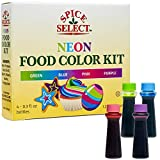 Spice Select Neon Food Colors Blue Green Pink Purple 1.2 Oz