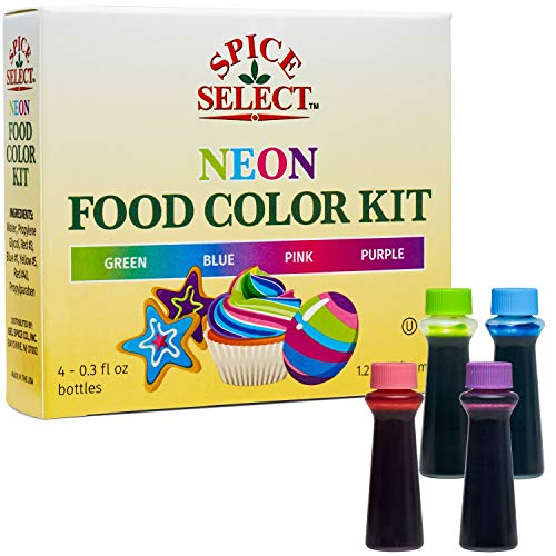 Spice Select Neon Food Colors Blue Green Pink Purple 1.2 Oz -