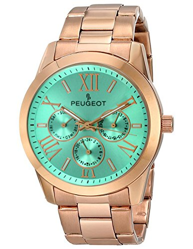 Peugeot Women's 7095TQ Analog Display Japanese Quartz Rose Gold Turquoise Dial Watch