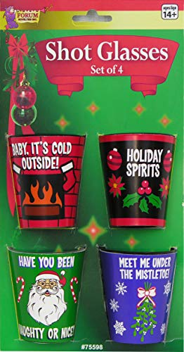 Forum Novelties G-Rated Christmas Shot Glasses, Plastic, Multicolor (Christmas Shots Best)