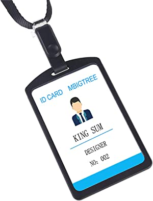 Aluminum Badge Holder with Detachable Neck Lanyard/Strap for ID Card, Working Card, Name Tag (2pcs Black)
