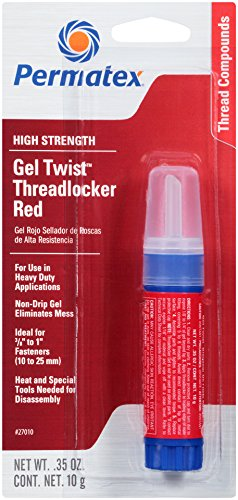 (Permatex 27010 High Strength Threadlocker Red Gel Twist, 10 g)