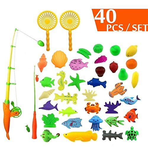 CECIINION 40pcs Fishing Game Bath Toy Set Outdoor Fun Waterproof Magnetic Floating Fish Toys