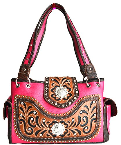 western cowgirl berry concho rhinestone cut out purse (hot pink)