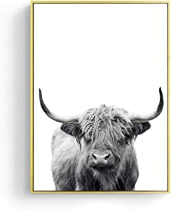 """Black and White Highland Cow Wall Art, Unframed, Print Canvas Print Painting Poster for Home Decor Wall Decor (12""""x18"""")"""