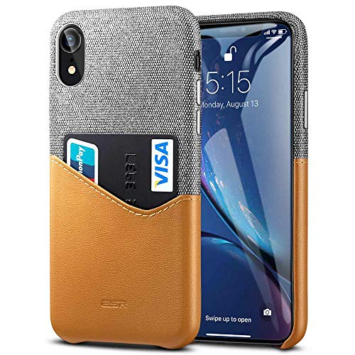 ESR Metro Wallet Case for iPhone XR, Soft Fabric + Premium PU Card Leather Case with ID & Card Holder Slot for The iPhone XR(Gray/Brown)