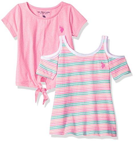 - U.S. Polo Assn. Girls' Little 2 Pack T-Shirt, neon Stripe Light Pink Jersey Multi, 5/6