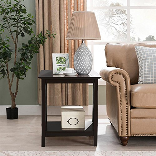 Topeakmart X Design Wood Coffee Side End Table with Storage Shelf for Living Room (Espresso, Rustic) (Room Square Side Tables Living)