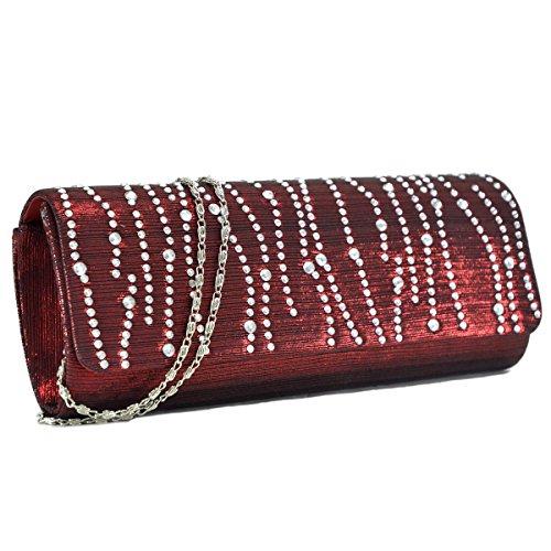 Woman Rhinestone Evening Bag Clutch Purse Crystal Pleated Satin Party Handbag Burgundy