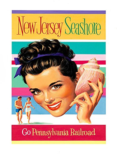 TRAVEL NEW JERSEY SEA SHORE SHELL GIRL SMILE USA ART PRINT POSTER - Jersey Shore Kids
