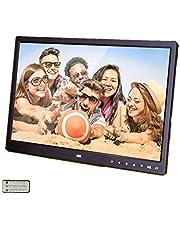 Acouto Muziekfotolijst, 15 inch digitale fotolijst, ultradun breedscherm, 1280 x 800 HD touch-knop, klok, muziekvideospeler met afstandsbediening, zwart