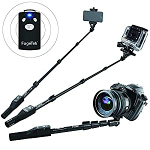 Fugetek FT-568 Professional High End Alloy Selfie Stick Monopod, Bluetooth Remote For Apple, Android, & DLSR Cameras (Black)