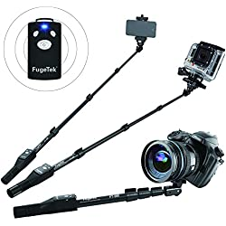 Fugetek FT-568 Professional High End Selfie Stick Monopod, For Apple, Android, Gopro, DLSR Cameras, Removable Wireless Bluetooth Remote (Black)
