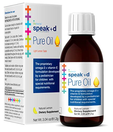 Lifetrients Speak+D Pure Oil - Natural Lemon - 3.04 oz | Pediatrician Formulated to Support Children with Special Nutritional Requirements | Enhanced with Omega-3, Vitamin E, Vitamin D & Vitamin K