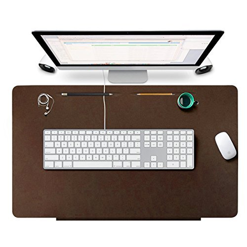 Olago Desk Pads Protecter, Leather Smooth Desk Mat Blotters Organizer with Fixation Lip and Comfortable Writing Surface for Desktops and Laptops,Office and Home, 27.5'' x 17.7'' (Brown)