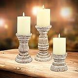 Stonebriar Antique White Wooden Pillar Candle