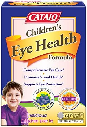 CATALO Children's Eye Health Formula - Vision Support with European Bilberry Extracts, Eyebright Extracts, Lycopene, Lutein & Zeaxanthin, Taurine, and Zinc, 60 Blueberry Flavor Chewable Tablets
