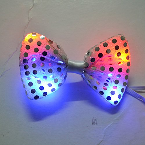 LED Light Up Flashing Sequin Bow Ties Tie - Various Colors by Mammoth Sales (Grey) -