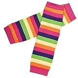 Koly Kids Girls Stripes Rainbow Kneepad Socks Leg Warmer Cotton Leggings (Hot pink)