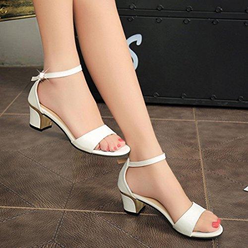 Hot Alto Bianco Peep Solido Moda Scarpe Cinturino Donna Tacco Fibbia Artificiale Sandali Longra 2018 Vendita Colore Toe 5cAwqwfWT