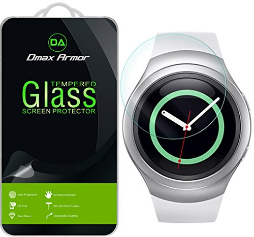 Samsung Gear S2 Glass Screen Protector, Dmax Armor- Ballistics [Tempered Glass] Anti-Scratch, Anti-Fingerprint, Round Edge [0.3mm] Ultra-clear - Retail Packaging (S2 Samsung Screen)