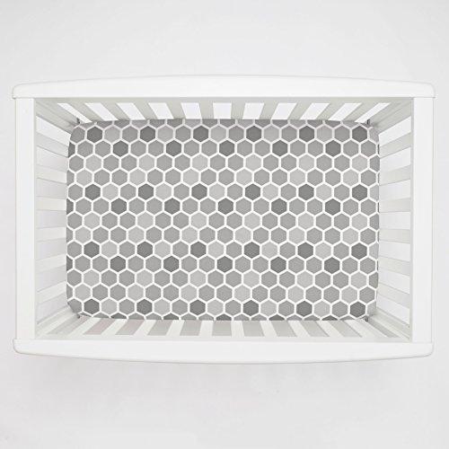 Carousel Designs Gray Honeycomb Mini Crib Sheet 1-Inch-4-Inch Depth - Organic 100% Cotton Fitted Mini Crib Sheet - Made in The USA ()