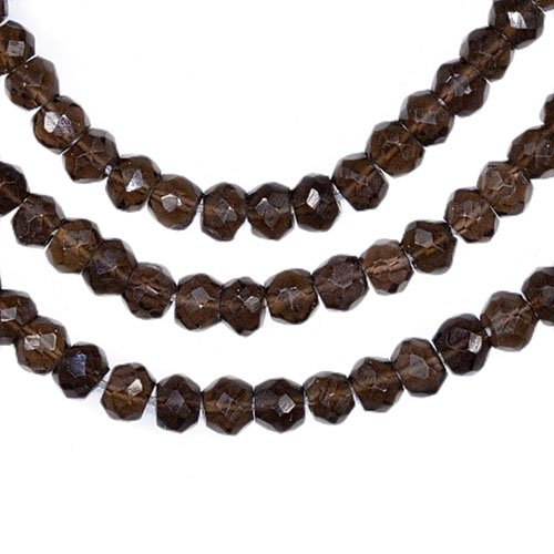 Smoky Quartz Faceted Rondelle Beads - 7
