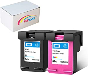 INKMATE Re-Manufactured Ink Cartridge Replacement for HP 62XL 62 XL for HP Officejet 5740 5742 5745 8040 8045 Envy 5540 5640 5642 5549 5660 7640 7644 7645 OfficeJet 200 250(1Black/1Tri-color, 2Pack)