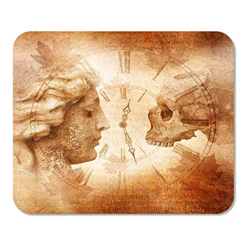 Suike Mousepad Computer Notepad Office Memento Mori Montage with Female Profile Facing Skull Across Antique Clock Against Home School Game Player Computer Worker 9.5x7.9 Inch